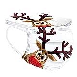 Snowdim 50 Stück Weihnachten Einweg Munds-chutz, 3 lagig Mund-Nasen-Schutz Bandana Staubdicht Atmungsaktiv Schals für Erwachsene (Elch A| 10PC)