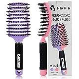 Boar Bristle Hair Brush Set of 2, HIPPIH Wet & Dry Hair...
