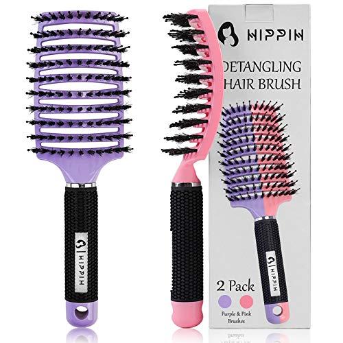 Boar Bristle Hair Brush Set of 2, HIPPIH Wet & Dry Hair Brushes Made...
