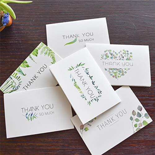 VIOYO Hojas Florales Tarjetas de Notas de Agradecimiento con Pegatinas de Sobres Invitaciones Personalizadas Tarjetas de felicitación Interiores en Blanco Tarjetas Postales Tarjeta de Regalo