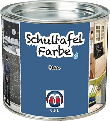 Tafelfarbe/Schultafel-Lack 0,5 L Dose - Tafel-Lack Wandtafelfarbe Kreidefarbe, Farbe:blau