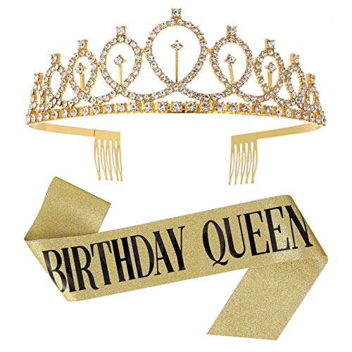 fanshiontide Geburtstagskönigin Strass Geburtstag Krone Tiara und Frauen Geburtstagsschärpe für Mädchen Geburtstagsfeier(golden)