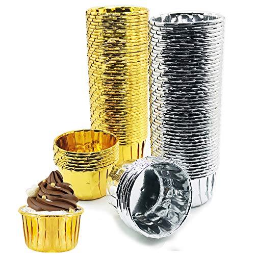 Allazone 100 Stück Muffin Förmchen aus Aluminium Backförmchen aus Aluminiumfolie Cupcake Wrapper Mini Muffins Papierförmchen Cupcake Formen Backen für Hochzeit Geburtstag Party