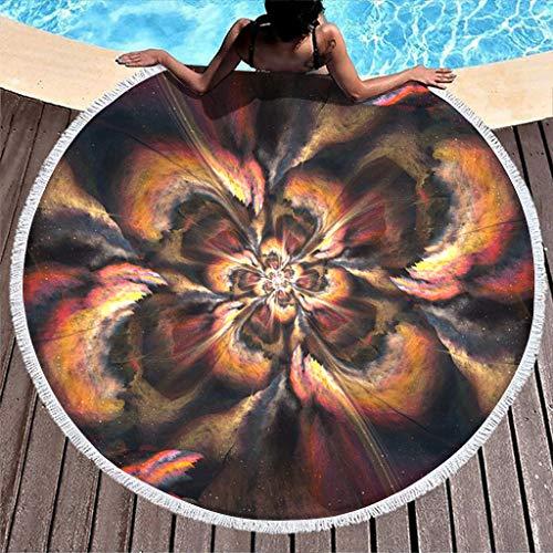 MINNOMO Toalla de playa psicodélica con estampado geométrico, redonda, con borlas, muy popular, absorbe el agua, color blanco, 150 cm