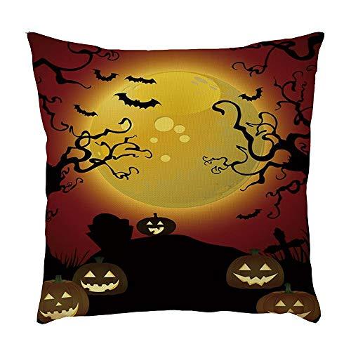 NszzJixo9 Halloween Pumpkin Throw Pillow Cover Pillowcases Decorative Sofa Cushion Cover 45 X 45cm Sided Pattern Pillowcase for Decoration Sofa Cushion Home Bed (C) (I)