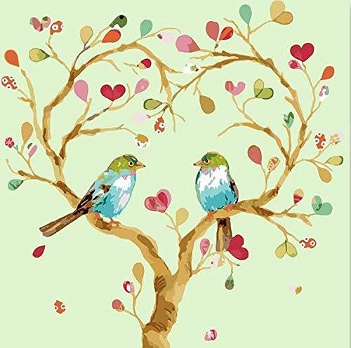 BUFUXINGMA Pintura por Números para Adultos Niños Principiantes Pintar por Numeros Kit con Pinceles y Pinturas DIY Decoraciones para El Hogar, Pájaro de Rama Colorida 40 X 50 Cm Marco de Mader