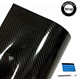 108'x60' 7D Premium High Gloss Black Carbon Fiber Vinyl Wrap for Automotive with Air Release Technology | Interior and Exterior + Free Toolkit (9FT x 5FT)