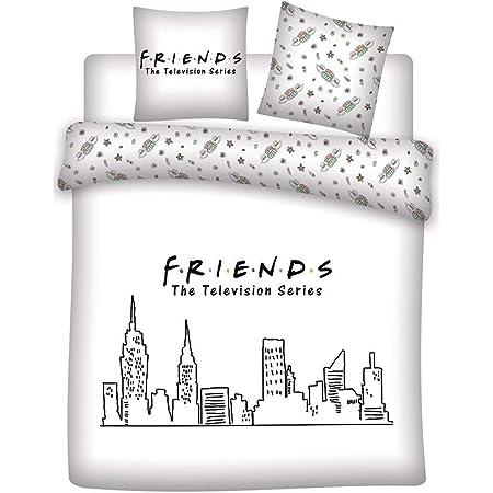 AYMAX S.P.R.L. Parure de lit Friends 2 Personnes - Housse de Couette 240x220 cm + 2 Taies d'oreiller 63x63 cm