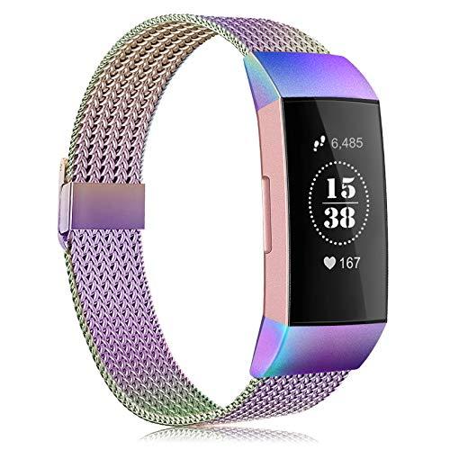 Tobheo Compatible para Fitbit Charge 3 Correa/Charge 4 Strap Mujer Hombre Pulsera Accesorios Multicolor Recambio Acero Correa (sin Reloj),L
