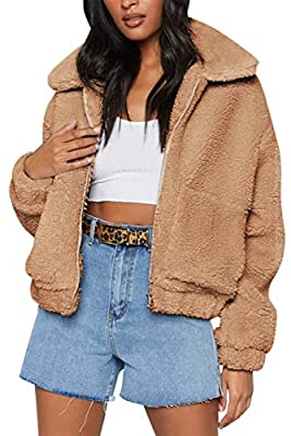 MEROKEETY Women's Sherpa Jacket Lapel Zip Up Fleece Fuzzy Faux Warm Oversized Outwear Coat with Pockets Khaki S