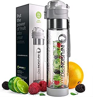 Infusion Pro Water Infuser – 24 oz Fruit Infused Water Bottle | Premium Leak Proof Tritan Plastic with Bottom Infusing Design | Flip Top Locking Spout with Neoprene Insulated Sleeve & Strainer