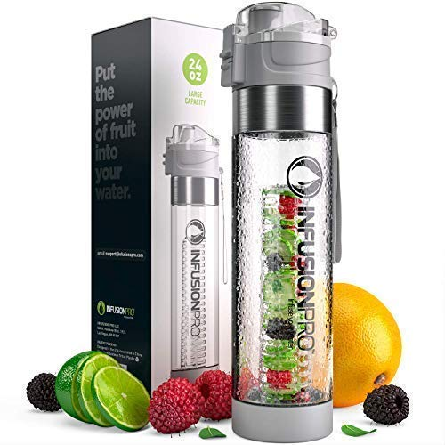 Infusion Pro Water Infuser Bottle – 24 oz infused water bottle bpa free | Premium Leak Proof Tritan Plastic with...