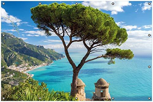 Wallario Garten-Poster Outdoor-Poster, Italienische Küste in Premiumqualität, für den Außeneinsatz geeignet