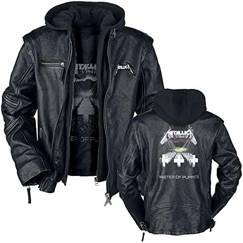Metallica Master Of Puppets Hombre Chaqueta de Cuero Negro XL, 100% cuero, Regular