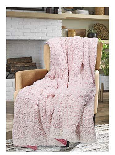 Sleep&Snuggle Luxuriöse Rosetten-Überwurfdecke – Kunstfell-Sherpa-Fleece-Rückseite Decke für Bett, Sofa und Couch, warm, dick, weich, gemütlich, Bettüberwurf (Pink)