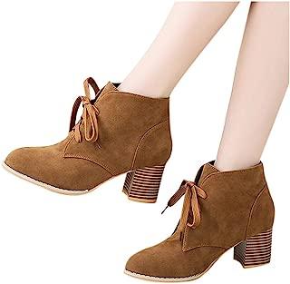 Fainosmny Women Lace-Up Ankle Boots Flat Square Heel Short Tube Booties Ladies Boots Winter Plus Size Roman Cowboy Shoes