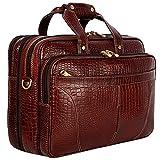 HYATT Leather Accessories 16 pulgadas expandible cuero natural portátil maletín oficina Bolsas para hombres (NDML0001) (C-Brown)