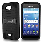 Kyocera Hydro Air Case, Kyocera Hydro Wave Case, CoverON [Titan Armor Series] Dual Layer Silicone + Tough Cover Stand Phone Case for Kyocera Hydro Air/Hydro Wave - Black