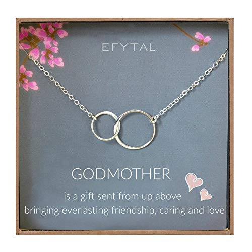 EFYTAL Godmother Gifts From Godchild Sterling Silver Interlocking Circle Necklace Proposal Gift For Girl Baptism