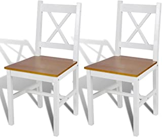 Lechnical Práctico Juego de sillas de Comedor de Interior de 2 Piezas, Juego de 2 sillas de Comedor de Pino Color Natural Blanco 41,5 x 45,5 x 85,5 cm (Ancho x Profundidad x Altura)