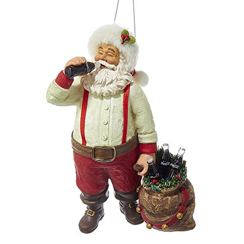Kurt Adler CC9162 Santa Drinking Coke Ornament, 5.5'