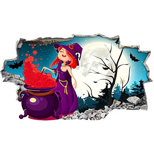 HQSM Pegatinas de pared Caldero de bruja bosque luna Halloween arte de pared pegatinas calcomanía vinilo habitación