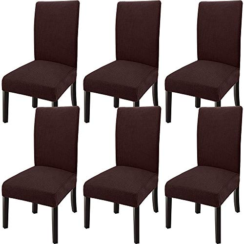 GoodtoU Chair Covers for Dining Room Chair Covers Dining Chair Covers (Set of 6, Chocolate)