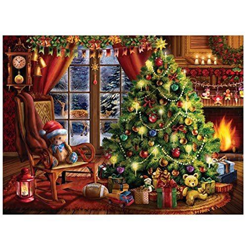 DIY 5D Diamond Painting Kit Full Drill Christmas Tree Pictures for Adults Child Crystals Rhinestone Stitch Embroidery Cross Craft Gift Canvas Home Decor Gift20x30cm(8x12in)