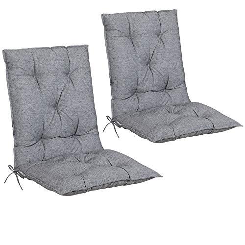 Detex Set de 2 Cojines de sillas con Respaldo Gris Almohadillas Rellenado para sillones para jardín Interior Exterior