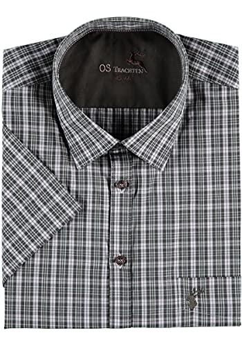 OS-Trachten Herren Hemd Kurzarm Jagdhemd mit Liegekragen Taleya, Größe:41/42, Farbe:Oliv