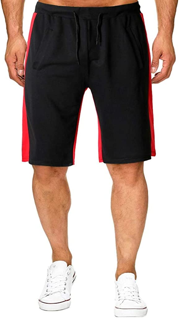 Forthery Mens Athletic Gym Workout Shorts Jogging Elasticated Waist Shorts Pants Trousers with Pockets