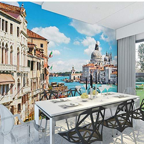 Guokaixyz Fotobehang 3D-fotobehang modern design architectuur Venetië wandschilderij slaapkamer woonkamer tv-achtergrond behang vlies 200x140cm