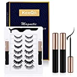 KeeQii Magnetic Eyelashes with Eyeliner Kit, 7 Pairs Magnetic Eyelashes and Eyeliners with Natural Look,Reusable Magnetic Eyelashes with Tweezers Inside,Waterproof and No Glue Needed