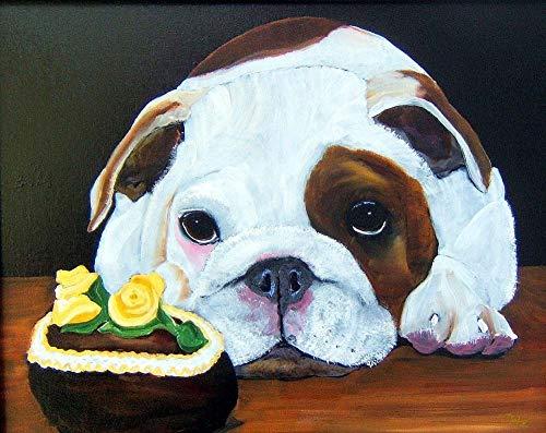 Digitale Schilderen door cijfers Kits Cake Bulldog Dierlijke Olie Schilderen op Canvas Muurdecoratie voor Home Gift voor Nieuwe Accommodatie Bruiloft voor Volwassenen Kids Beginners