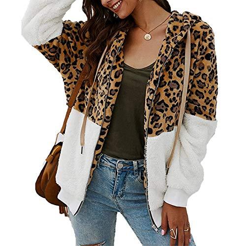 ABINGOO Damen Kapuzenjacke Warm Mantel Teddy-Fleece Plüschjacke Leopard Casuale Zip Hoodie Cardigan Outwear,Weiß,M