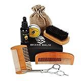 Kit de cuidado de la barba para hombres, el juego de 8 piezas incluye aceite de barba, bálsamo, peine, cepillo y tijeras, un gran regalo para su novio, papá o su abuelo