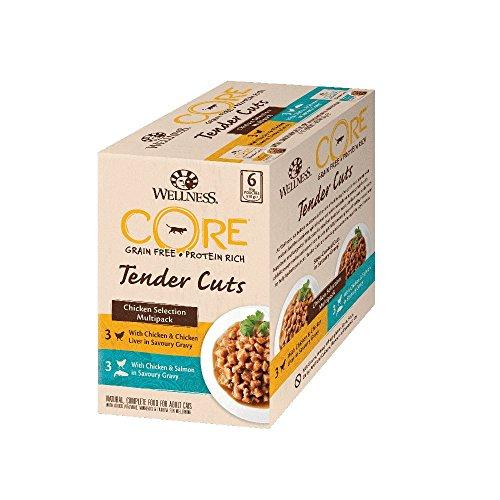 Wellness CORE Tender Cuts / Katzenfutter Nass / Getreidefrei / Hoher Fleischanteil / Hühnchen Selection, Mix 6 x 85 g Pouches