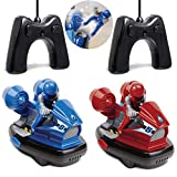 Black Series RC Head-to-Head Speed Bumper Cars 2-Player Game Set Red vs. Blue for Kids, Remote Control Multiplayer Action Arcade Vehicles with Ejectable Drivers and Real Rubber Tires, Battery Powered