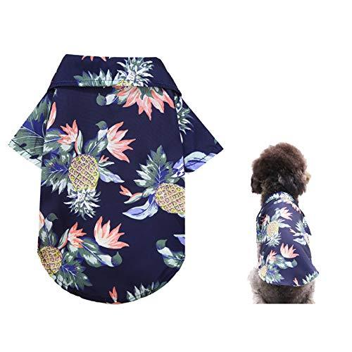 Katenpid Dog Hawaiian Shirt Summer Beach Vest Short Sleeve Pet Clothes Floral T-Shirt Small Dog Cats Cool Summer Vest (Blue, Large)