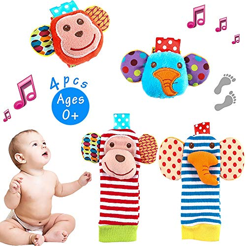 Tinabless Baby Socks Toys, Baby Feet and Fingers Socks Set, Design with Monkey and Elephant Organic Cotton Socks for Infant and Toddler (4 Piece)