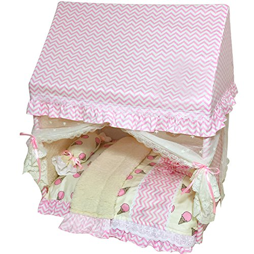 Creation Core Romantic Pet Puppy Cat Bed House with Canopy Net Pillow Quilt(Pink,M)