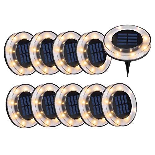 WZTO Solarleuchten Garten, 2000LM 8 LEDS Bodeneinbauleuchte Außenleuchte IP65 Wasserdicht Solarleuchte Bodenstrahler für Rasen Weg Hof Fahrstraßen Innenhof Gehweg Pool-Bereich