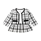 Toddler Baby Girl Plaid Skirt Set Long Sleeve Jacket Coat Tops Party Dress Tutu Skirt Fall Outfit Clothes (Black+White,12-18Months)