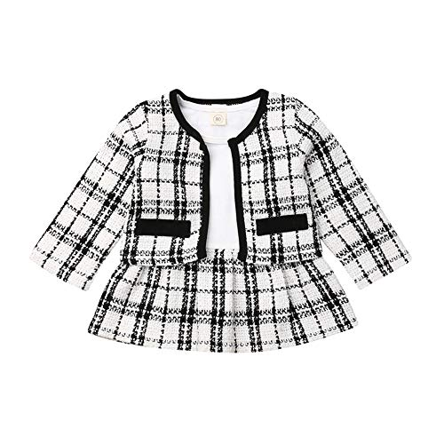 Toddler Baby Girl Plaid Skirt Set Long Sleeve Jacket Coat Tops Party Dress Tutu Skirt Fall Outfit Clothes (Black+White,2-3T)