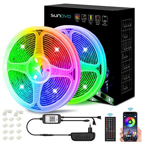 LED Strip 10M, LED Streifen Farbwechsel Lichtkette mit IR Fernbedienung and Bluetooth Steuerung, 2 Rollen Flexible Eingebautes Mikrophon SMD 5050 Selbstklebend Lichtband für TV, Festival, Bar, Party