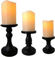 The Nifty Nook I Flamless LED Candles Holder I Set of 3 I Home Decor (Black)