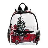 Zaini per bambini, carino e leggero resistente zaino prescolare per ragazzi e ragazze, con fascia toracica marrone farfalla Albero di Natale rosso auto regalo 25.4x10x30 CM/10x4x12 in