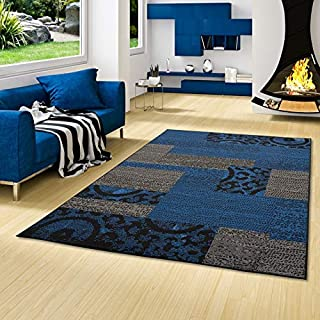 TRENDLINE - Alfombra Moderna - diseño de Patchwork - Azul