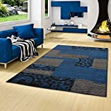 TRENDLINE - Alfombra Moderna - diseño de Patchwork - Azul Negro - 5 tamaños