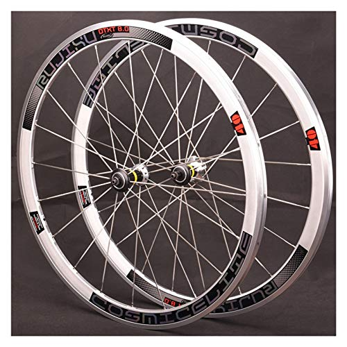 ZFF 700C Rennrad Laufradsatz Retro Silber Rennen Rand 40mm Schnellspanne 8 9 10 11 Fach Kassette V Bremse 20 Löcher (Color : Colorful Label)